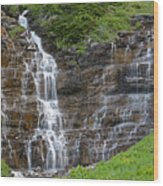 Glacier Waterfalls Wood Print