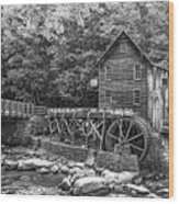 Glade Creek Grist Mill 2 Bw Wood Print