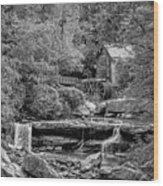 Glade Creek Grist Mill 3 Bw Wood Print