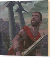 Gladiator Warrior With Monster On Pillar Wood Print