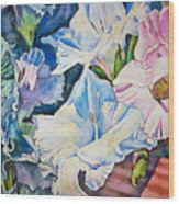Glads On The Deck Wood Print by June Conte  Pryor