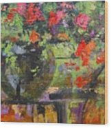 Glass And Flowers Wood Print