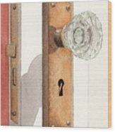 Glass Door Knob And Passage Lock Revisited Wood Print
