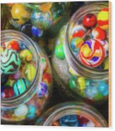 Glass Marbles In Containers Wood Print