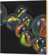 Glass Marbles Wood Print