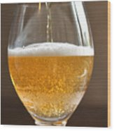 Glass Of Lager Wood Print