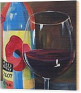 Glass Of Merlot   Wood Print