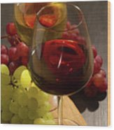 Red And White Wine Wood Print