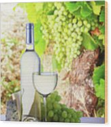White Wine In Vineyard Wood Print