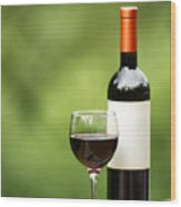 Glass Of Red Wine Outdoors Ready To Enjoy Wood Print
