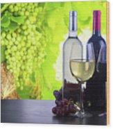 Enjoying Wine Wood Print