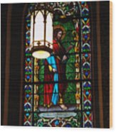 Glass Window Of Saint Philip In The Basilica In Santa Fe  Wood Print
