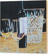 Glass Wood And Light And Wine Wood Print