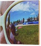Glasses Reflect Wood Print