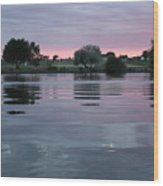 Glassy River Reflection Wood Print
