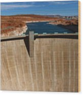Glen Canyon Dam And Lake Powell Wood Print