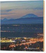 Glenn L Jackson Bridge And Mount Saint Helens After Sunset Wood Print