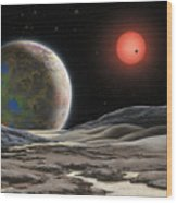 Gliese 581 C Wood Print by Lynette Cook