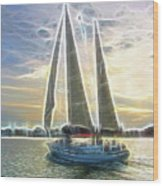 Glimmering Sailboat Wood Print by Ella Char