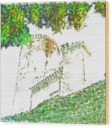 Glimpse Of The Castle Walls And Towers Wood Print