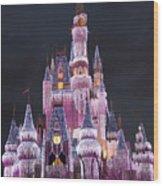 Glittering Cinderella Castle Wood Print