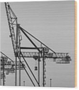 Global Containers Terminal Cargo Freight Cranes Bw Wood Print