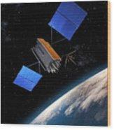 Global Positioning System Satellite In Orbit Wood Print