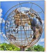 Globe At Columbus Circle Wood Print