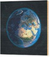 Globe Daynight Europe Wood Print