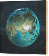 Globe Physical Asia Wood Print