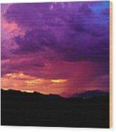 Globe Sunset Wood Print