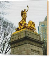Gloden Maine Statue By Central Park New York Wood Print