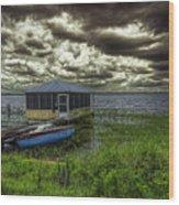 Gloomy Day By The Lake Wood Print