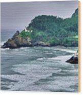 Gloomy Heceta Lighthouse  Wood Print