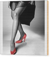 Glorious Gams - Red Shoes Wood Print