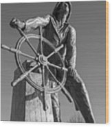 Gloucester Fisherman's Memorial Statue Black And White Wood Print