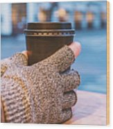Gloved Hands Holding Coffee Cup Wood Print