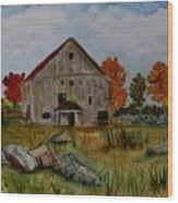 Glover Barn In Autumn Wood Print