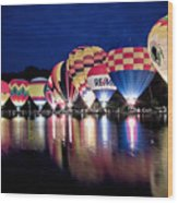 Glowing Balloons Wood Print