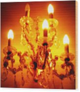 Glowing Chandelier Wood Print