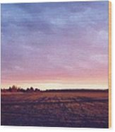 Glowing Field At Sunset Pd Wood Print