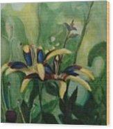 Glowing Flora Wood Print