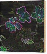 Glowing Flowers Wood Print