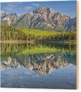 Glowing Morning At Pyramid Mountain Jasper Alberta Wood Print