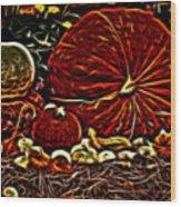 Glowing Pumpkins Wood Print