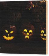 Glowing Pumpkins Wood Print