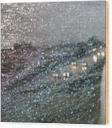 Glowing Raindrops In The City Wood Print