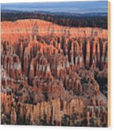 Glowing Sunrise In Bryce Canyon Wood Print