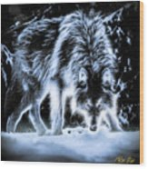 Glowing Wolf In The Gloom Wood Print