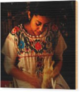 Glowing Woman Wood Print